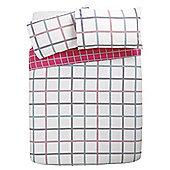 Tesco Check Print Duvet Cover And Pillowcase Set, Multi, Single