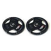 Body Power Rubber Enc Tri Grip STANDARD Weight Disc Plates - 15Kg (x2)