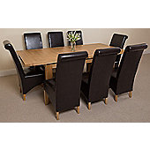 Seattle Solid Oak Extending 150 - 210 cm Dining Table with 8 Brown Montana Leather Chairs