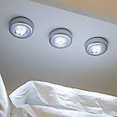 Set of 3 White LED Battery Push Lights