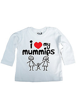 Dirty Fingers I love heart my Mummies Baby LS Top - White