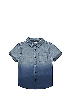 F&F Dip Dye Chambray Short Sleeve Shirt - Blue
