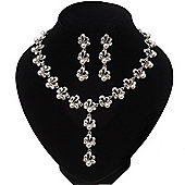 Bridal Pearl/Crystal Y-Necklace & Drop Earring Set In Silver Metal - 44cm Length/5cm Extension)