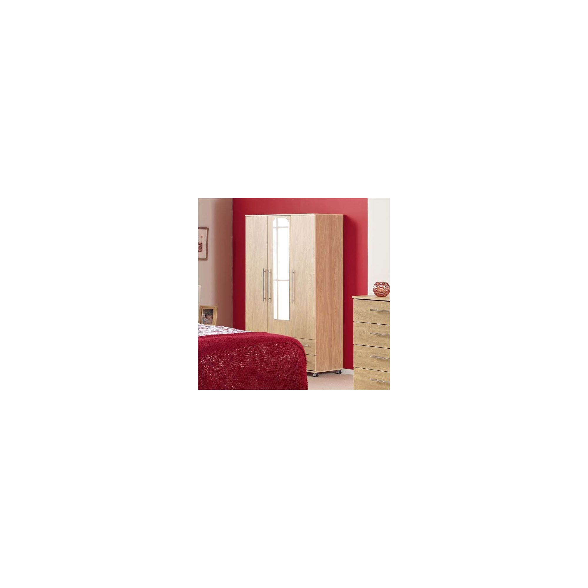 Ideal Furniture Bobby Triple Wardrobe with Two Drawer and Mirror - Oak at Tesco Direct