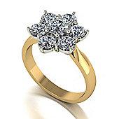 18ct Gold 7 Stone Moissanite Cluster Ring