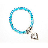 Aqua Crystal Bracelet with Hammered Heart Droplet