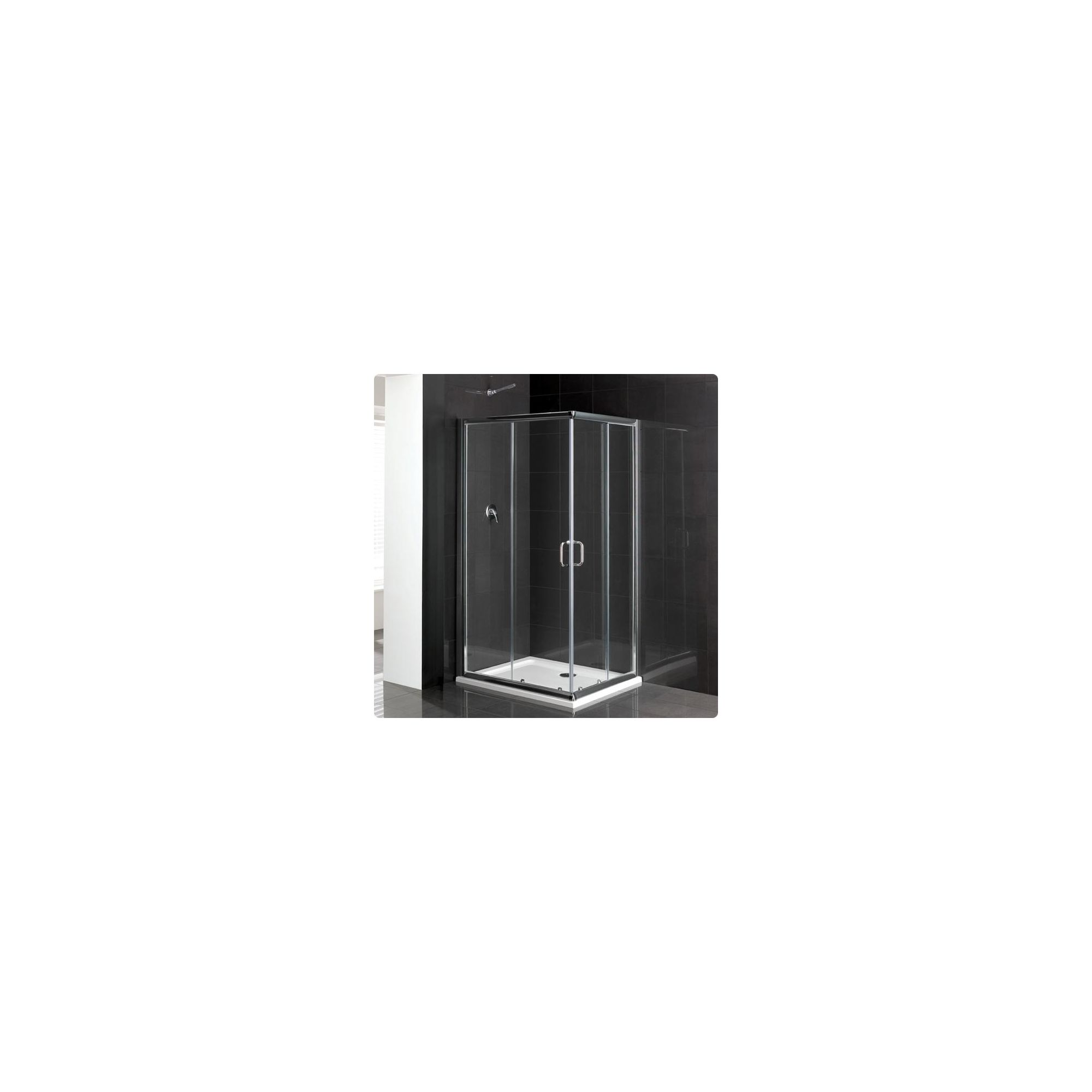 Duchy Elite Silver Offset Corner Entry Shower Enclosure 900mm x 800mm, Standard Tray, 6mm Glass at Tesco Direct