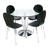 LEVV 5 Piece Dining Table Set - Black