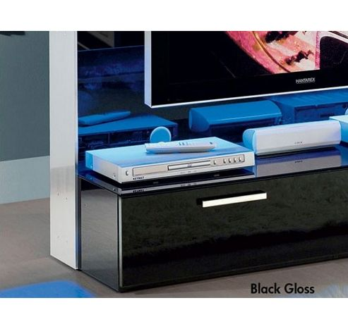 Triskom Glass TV Stand for LCD / Plasmas with Bracket - Black Gloss and Blue Panel Light - 42