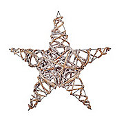 Frosted Silver Woven Wicker 40cm Star Christmas Decoration