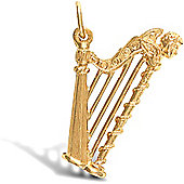 Jewelco London 9ct Solid Gold harp design Pendant charm