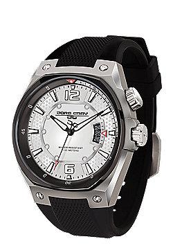 Jorg Gray Men's Watch JG8300-11 Leather Strap Black Dial
