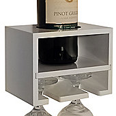 Cabernet - Wall Mounted Wine Bottle / 2 Glass Rack - White