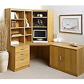 Enduro Home Office Corner Desk / Workstation with Pedestal, Cupboard and Bookshelves - Teak