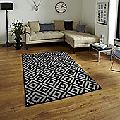 Think Rugs Matrix Black/Grey Rug - 160 cm x 220 cm (5 ft 3 in x 7 ft 3 in)