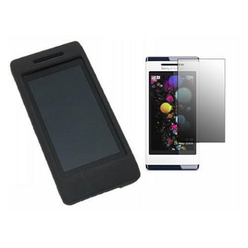 iTALKonline Black Hybrid Case, LCD Screen protector and Cleaning Cloth - For  Sony Ericsson Aino