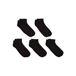 F&F 5 Pair Pack of Ventilated Trainer Liners One Size Black