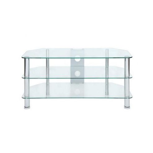 LEVV Glass TV Stand - Stainless Steel / Clear