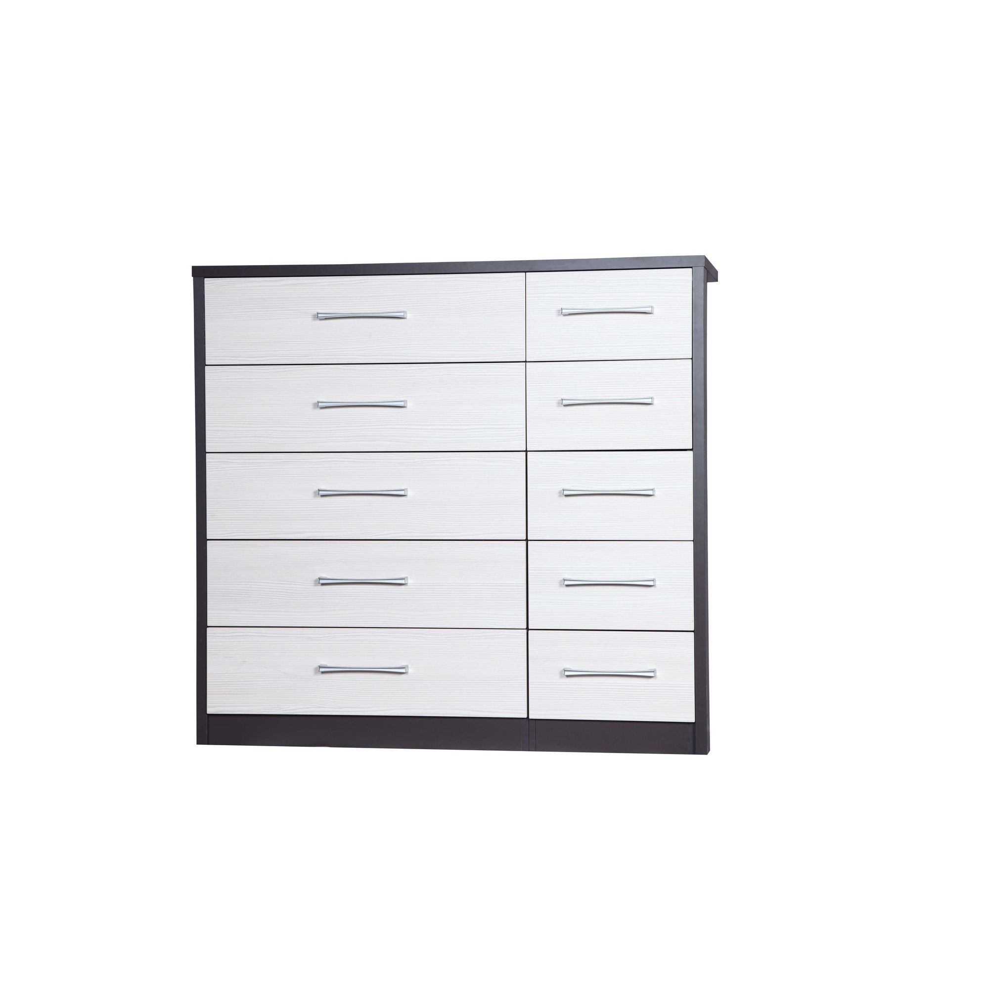 Alto Furniture Avola 10 Drawer Double Chest - Grey Carcass With White Avola at Tesco Direct