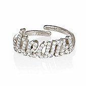 Silver adjustable pave dreams ring
