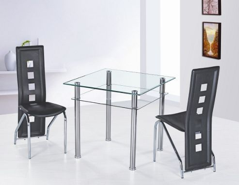 G&P Furniture 3 Piece Como Square Dining Set - Ivory