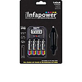 Infapower 1 Hour Battery Charger with 4 x AA 2700mAh Batteries