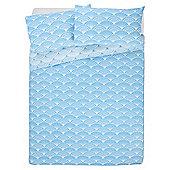 Tesco Basics Fan Print Duvet Cover And Pillowcase Set,  Blue, - Teal