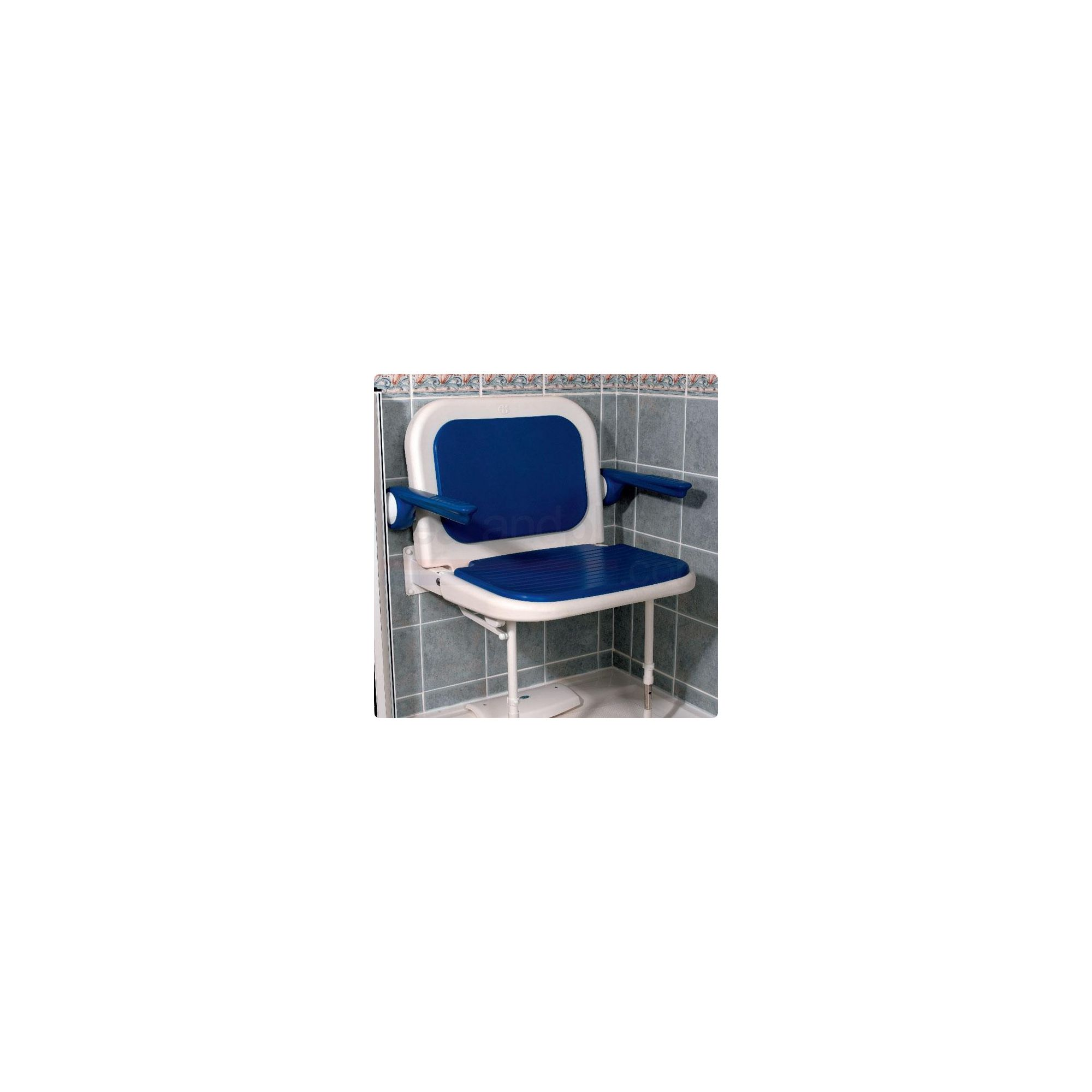 AKW 4000 Series Extra Wide Fold Up Shower Seat Blue with Back and Arms Blue at Tesco Direct