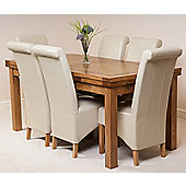Farmhouse Rustic Solid Oak 200 cm Butterfly Extending Dining Table with 6 Montana Leather Chairs (Ivory)
