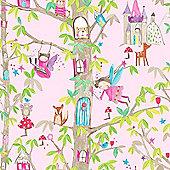 Woodland Fairies Glitter Wallpaper - Pink - Arthouse 667000