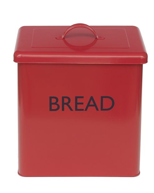 Enamel Coated Bread Bin - Red