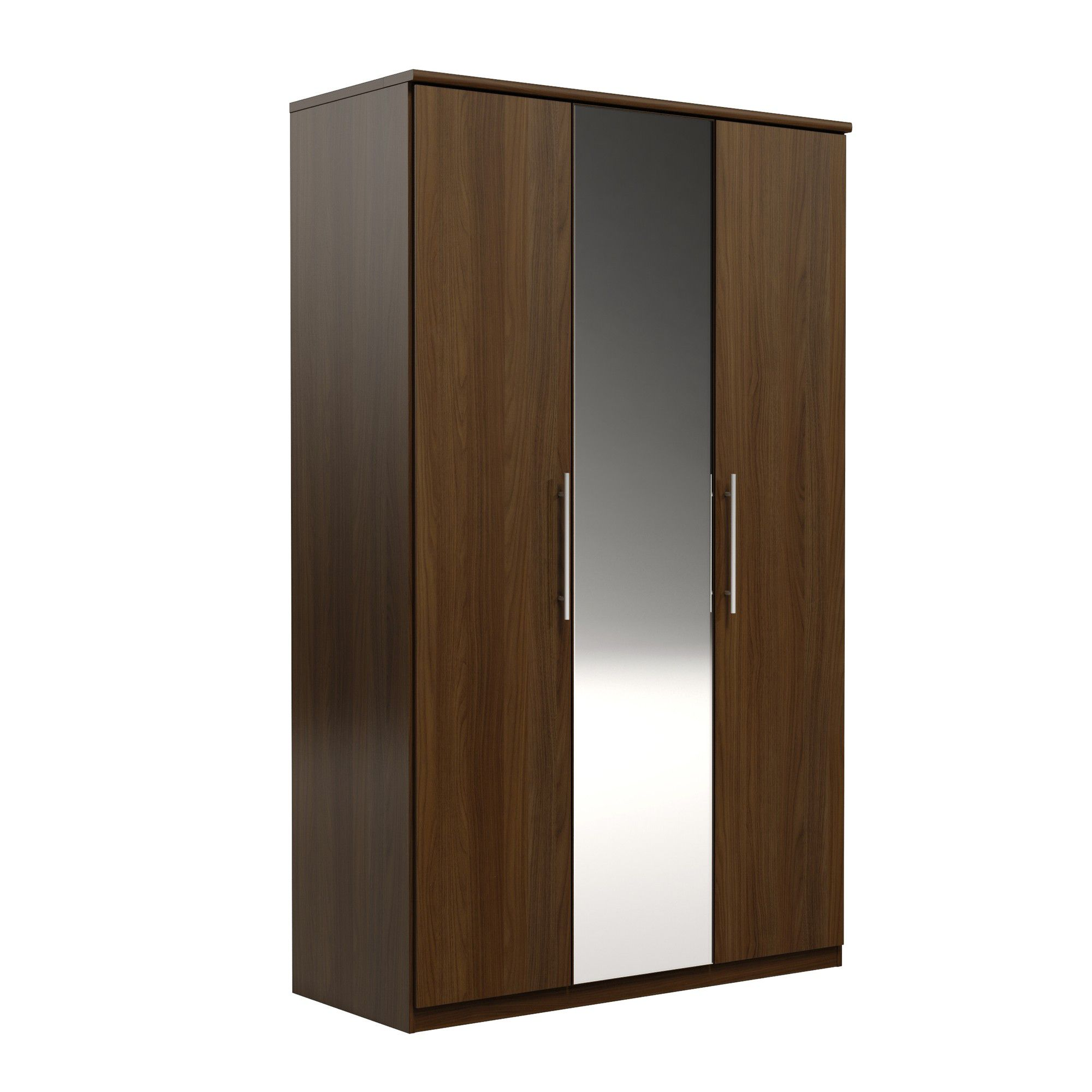 Urbane Designs Prague 3 Door Wardrobe - Walnut at Tesco Direct