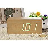 Click Clock Large Clock - Light Brown/Green