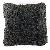 Faux Mongolian Cushion Black