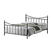 """Black & Silver Chrome Metal Bed Frame - Double 4ft 6"""""""