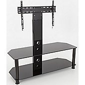 AVF Universal Black Glass and Black Legs Cantilever TV Stand For up to 65 inch TVs