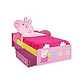 Peppa Pig Toddler Bed with Storage & Foam Mattress