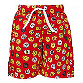 Lego Mini Figure Heads Boy's Swim Shorts - Red - Red