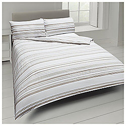 Tesco Basic Tonal Stripe Single Duvet Set - Natural