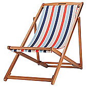 Tesco Striped Wooden Folding Deckchair