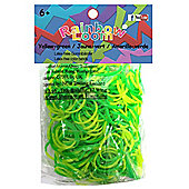 Rainbow Loom Official Yellow and Green Rubber Bands Refill 300 count + 12 C-clips