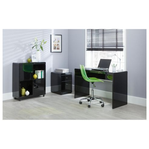 Buy viva high gloss office desk black from our office desks tables range tesco - Tesco office desk ...