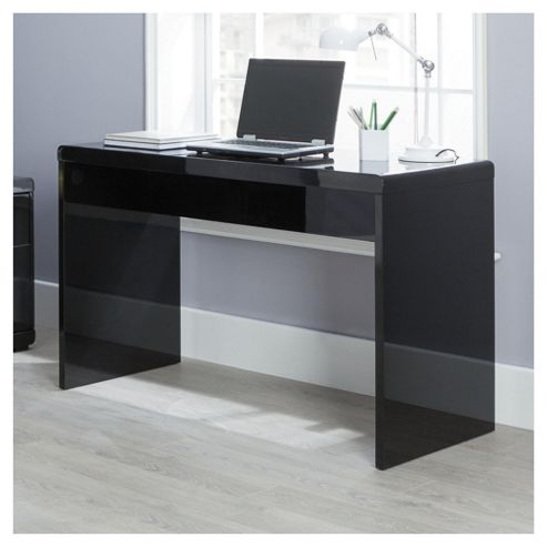 Viva High Gloss Office Desk, Black