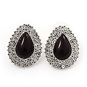 Crystal Teardrop Stud Earrings In Silver Tone Metal - 2.5cm Length