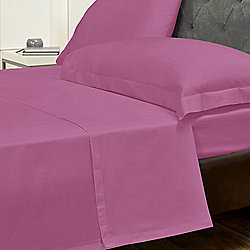 Julian Charles Percale Fuchsia Luxury 180 Thread Count Flat Sheet - Single
