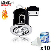 Pack of 10 MiniSun Fire Rated Tiltable LED Downlights Chrome with GU10 Bulbs