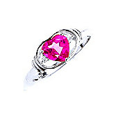 QP Jewellers Diamond & Pink Topaz Halo Heart Ring in 14K White Gold