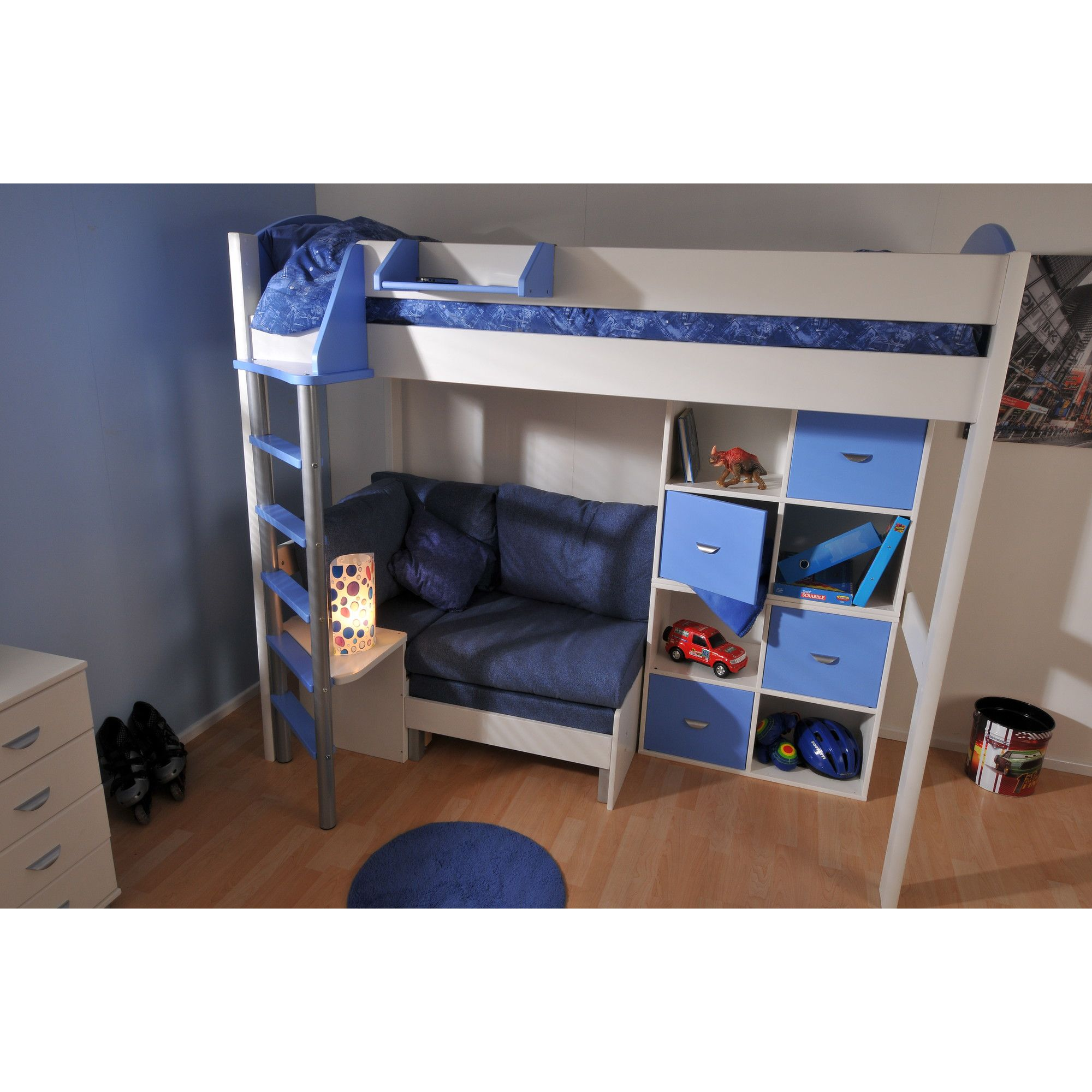 Stompa Casa High Sleeper Sofa Bed with 8 Cube Unit - Antique - Blue - Blue Denim at Tesco Direct