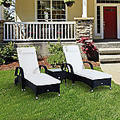 Outsunny 3PC Recliner Rattan Sun Lounger & Side Table in Black