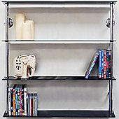 Techstyle 4-Tier Wall Shelf - Chrome / Black